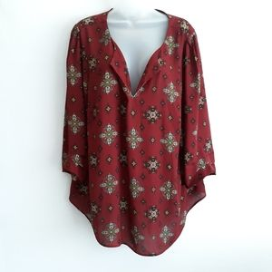 DR2 deep red popover blouse, 2x